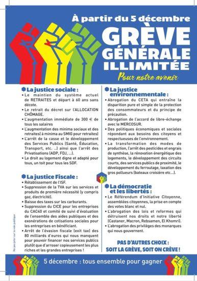 Grève Générale-Revendications