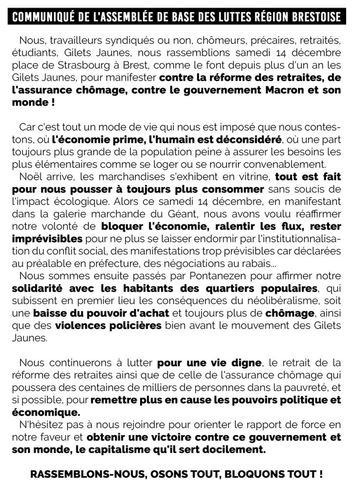 Communiqué de l'Assemblée de Base des Luttes Région Brestoise
