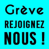 logo Grève Rejoignez-nous ! BLEU