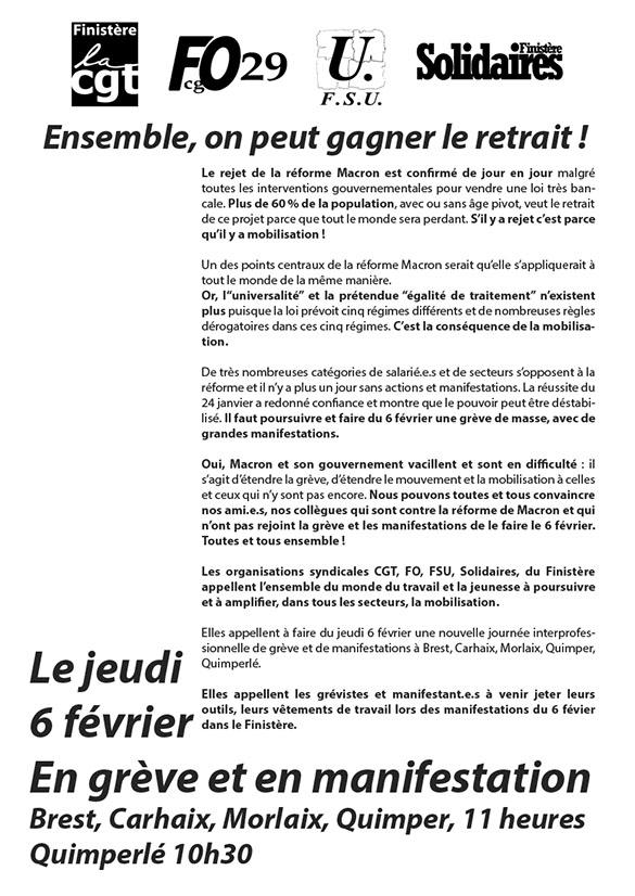 tract unitaire appel Finis 6 février