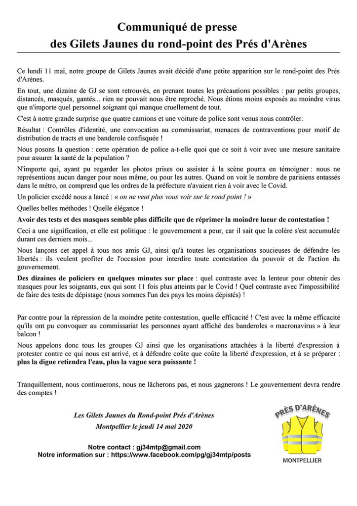 Communiqué GJ RPPA du 14-05-20