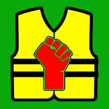 GJ fond poing rouge et vert fond vert