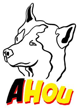 Logo AHOU chien-loup JAUNE et ROUGE