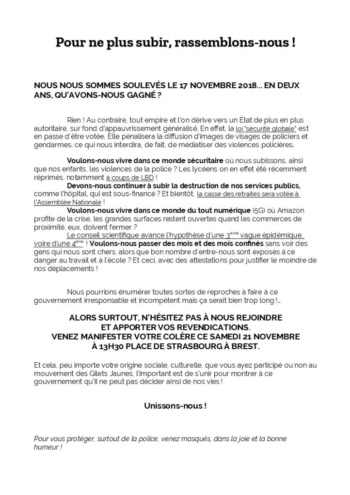 Appel à manifester 21-11-2020 BREST