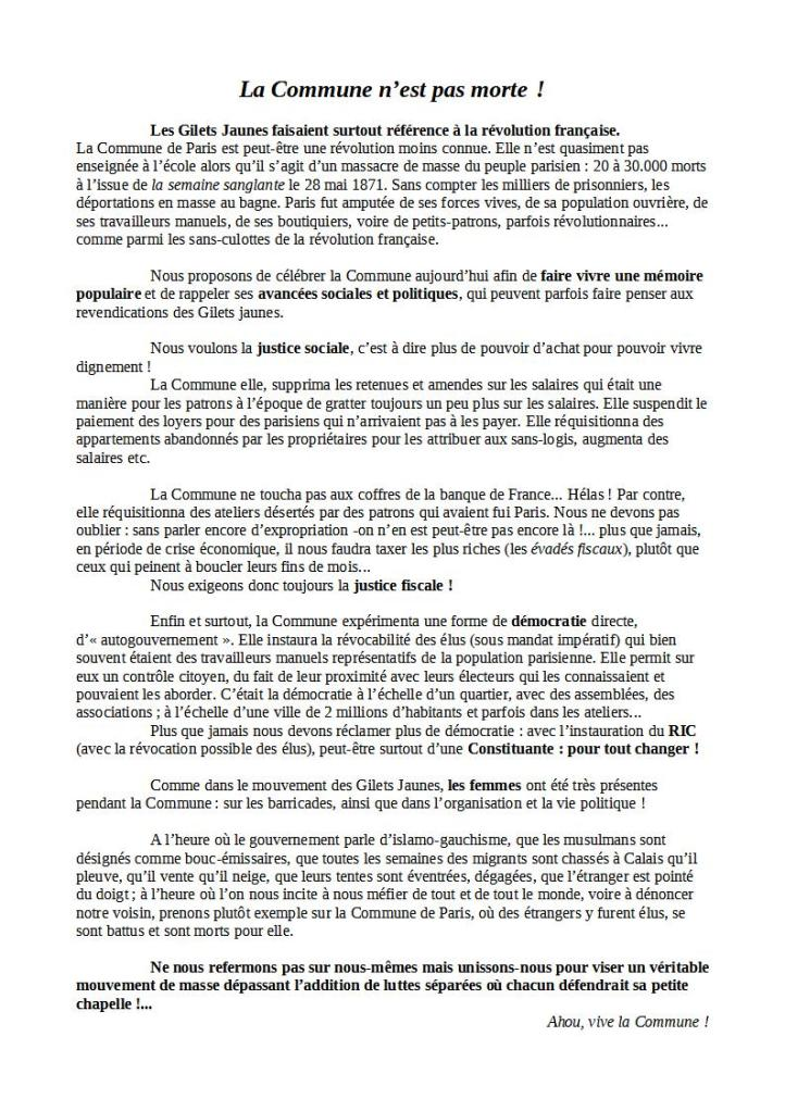Texte 20 mars La Commune n'est pas morte