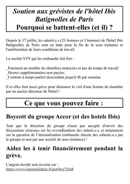 tract Soutien aux grévistes de l'hôtel Ibis 1